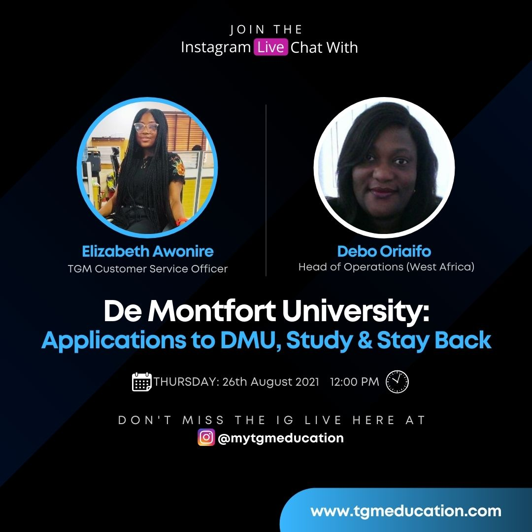 Applications to De Montfort University, Study and Stay Back